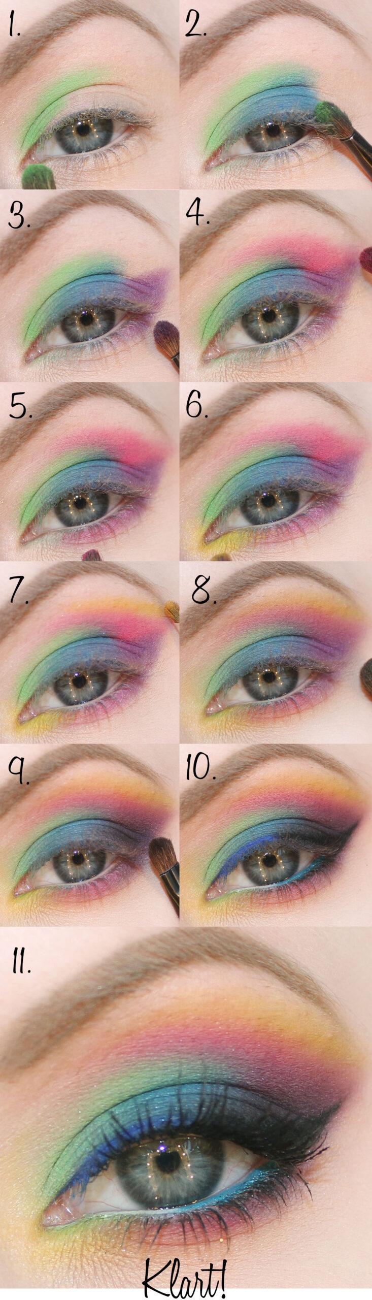 färgglad tutorial sminkning