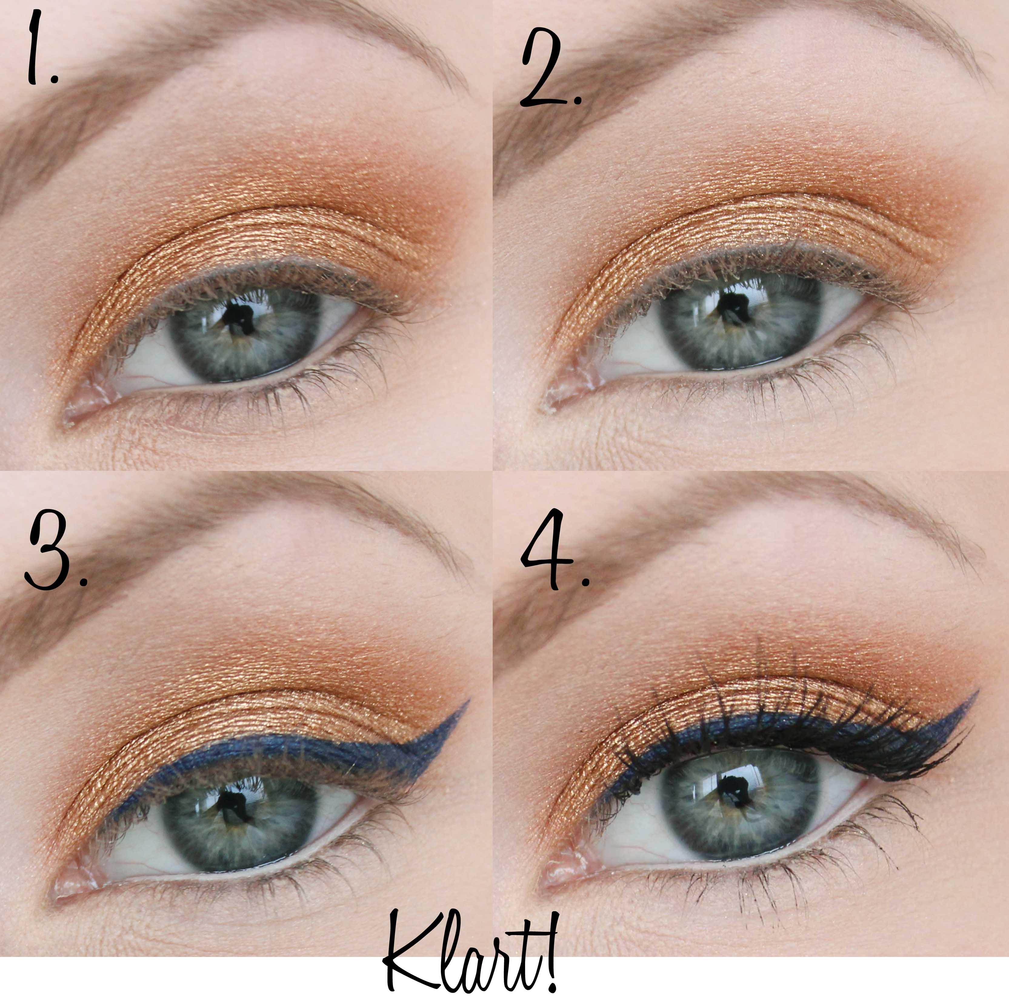 guldig vardagssminkning blå eyeliner tutorial