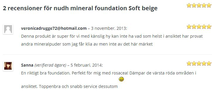 recension nudh mineral foundation