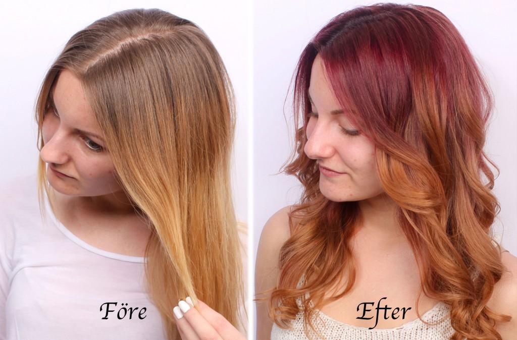 coloración del cabello antes-después