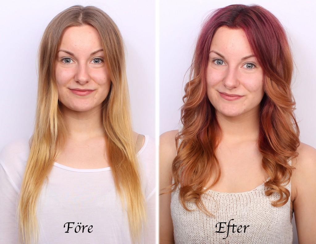 coloración del cabello antes y después