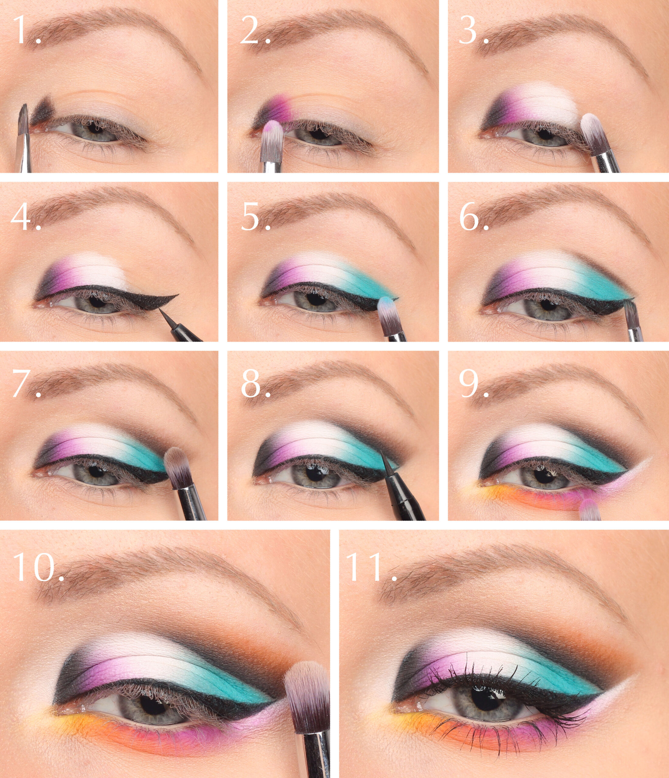 neon makeup-step-by-step
