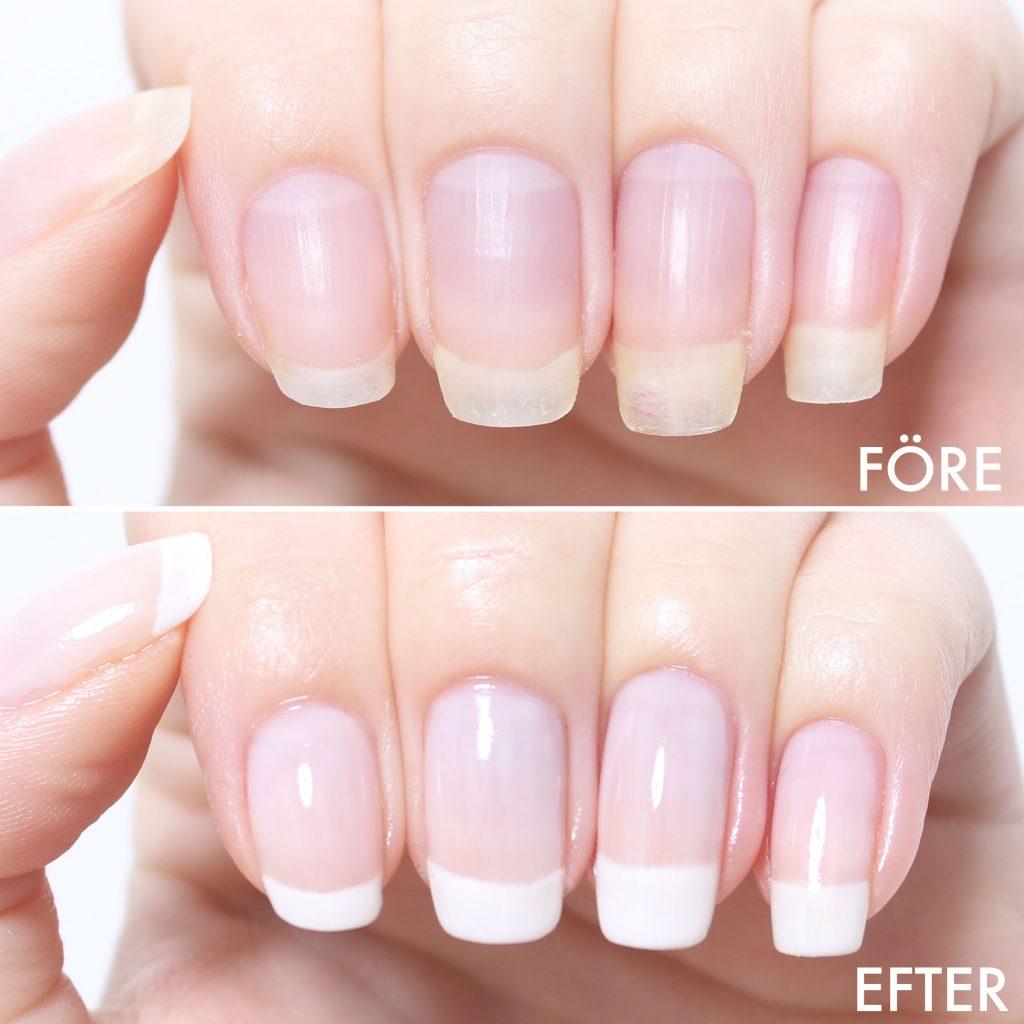 Arregle uñas largas y saludables en casa antes y después