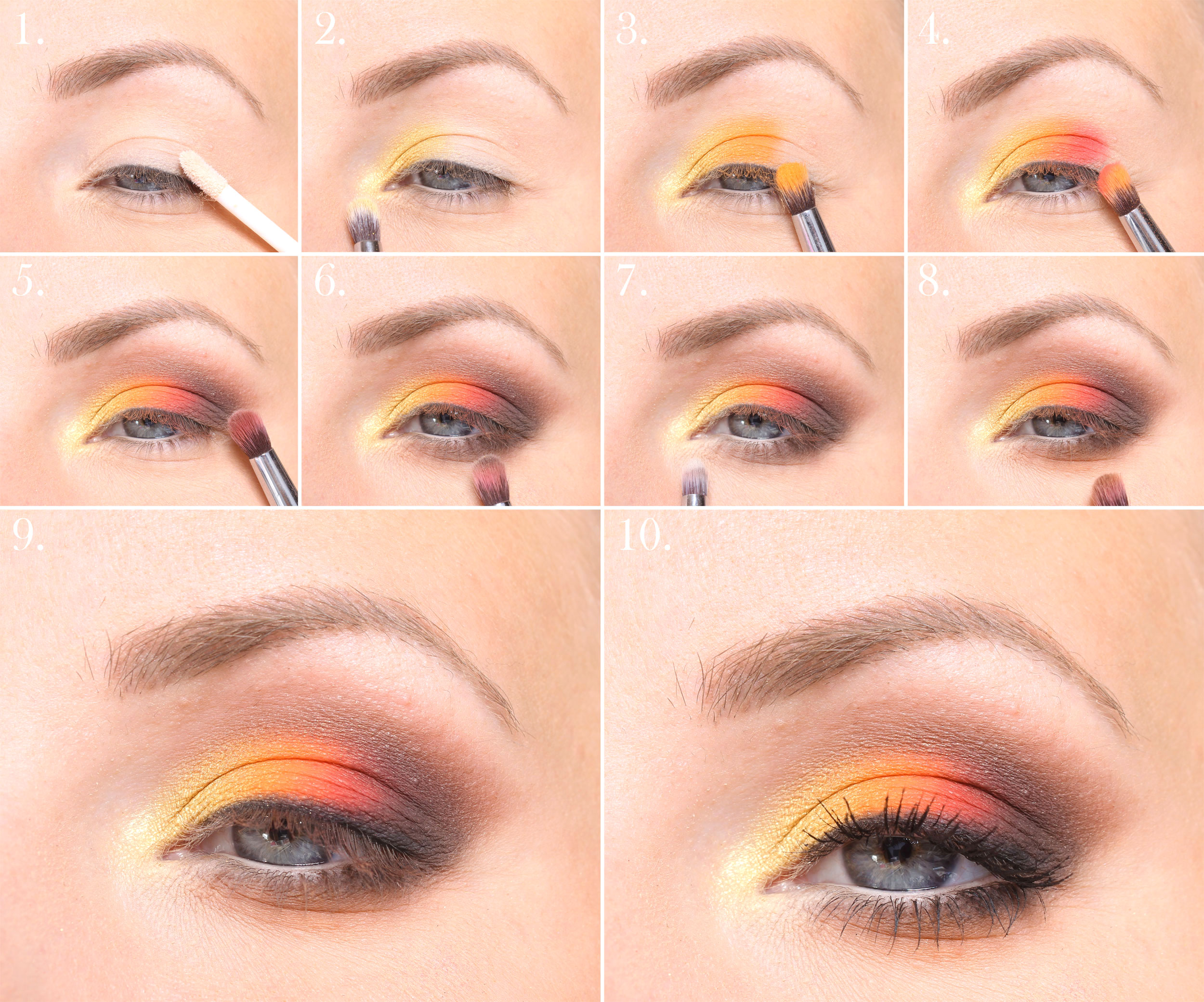 highlight blue eyes makeup step by step