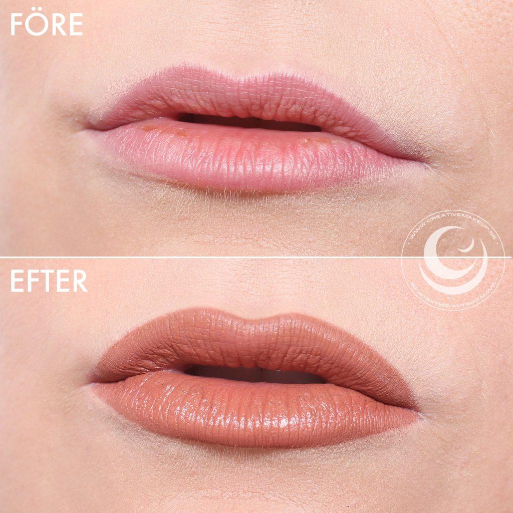 Haz los labios más grandes antes y después.