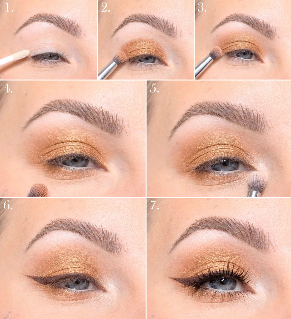 Golden eye shadow step by step