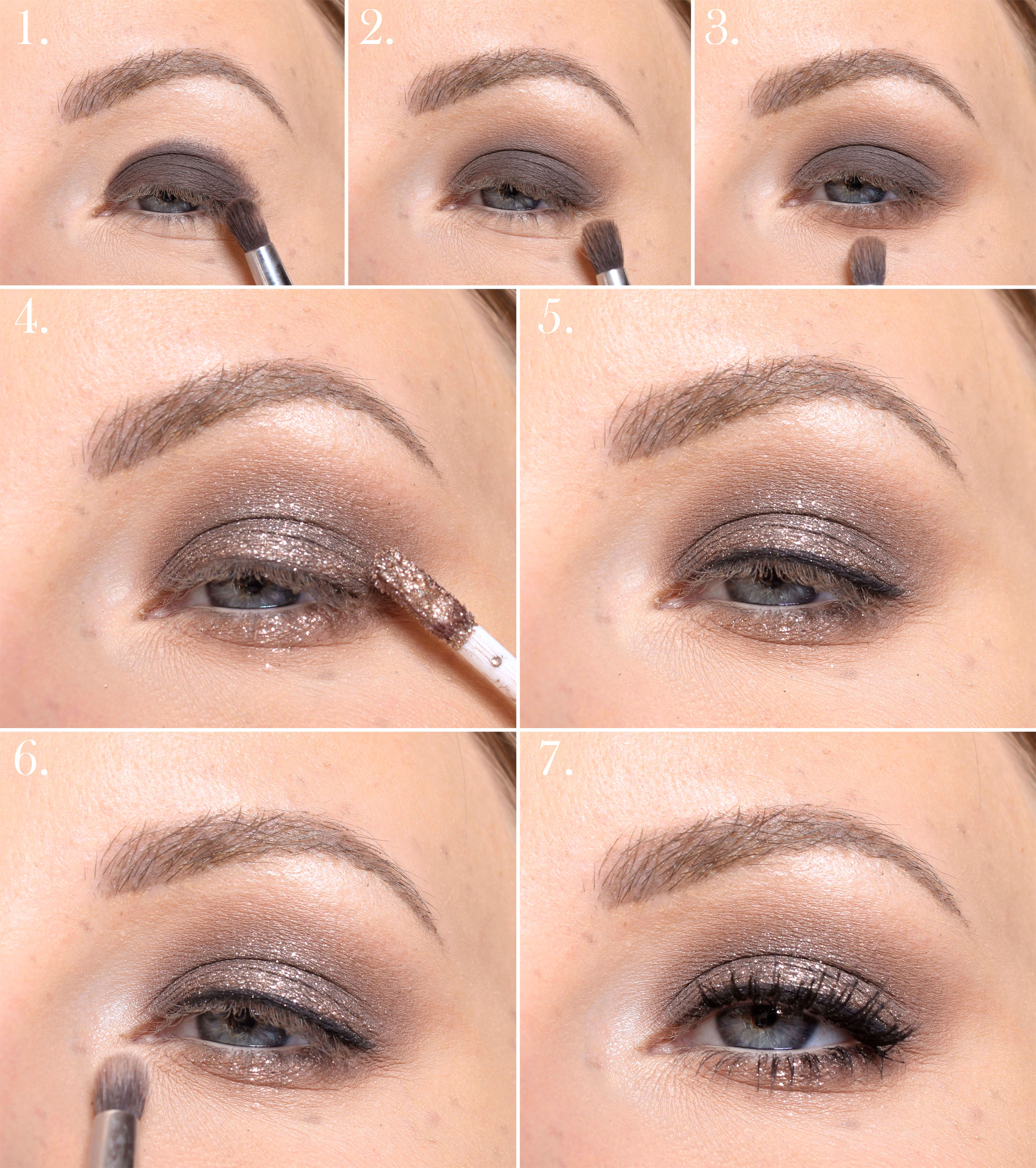 Brown glitter makeup - step by step