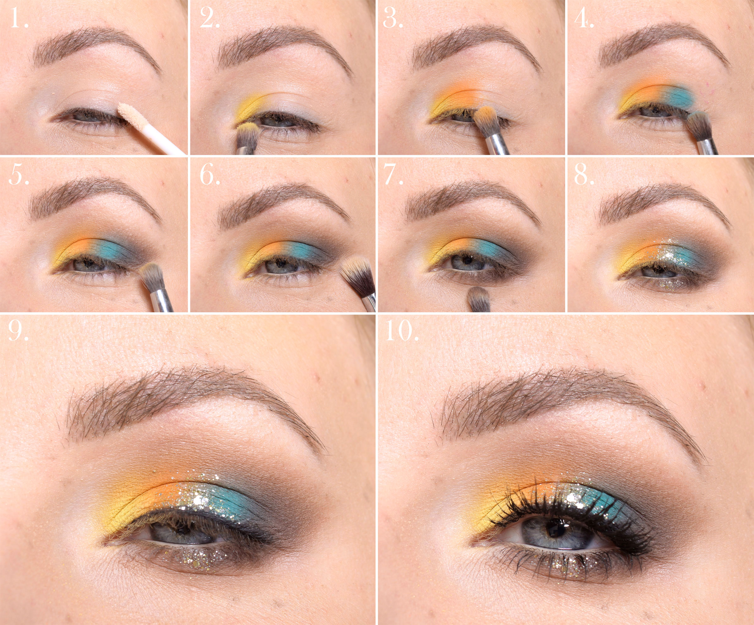 make up with glitter step by step