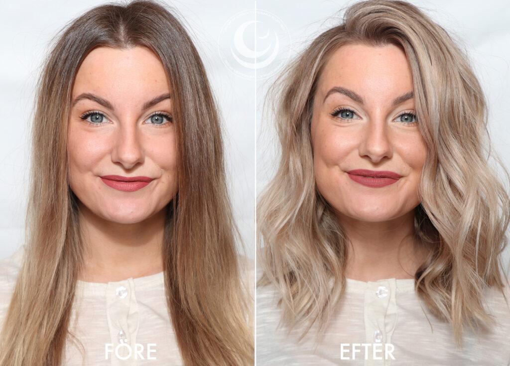 före och efter Makeover hår