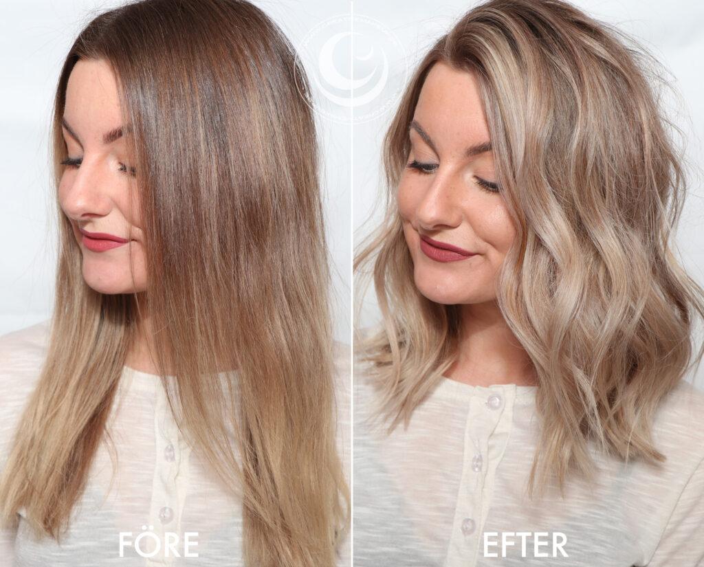 före och efter blont hår
