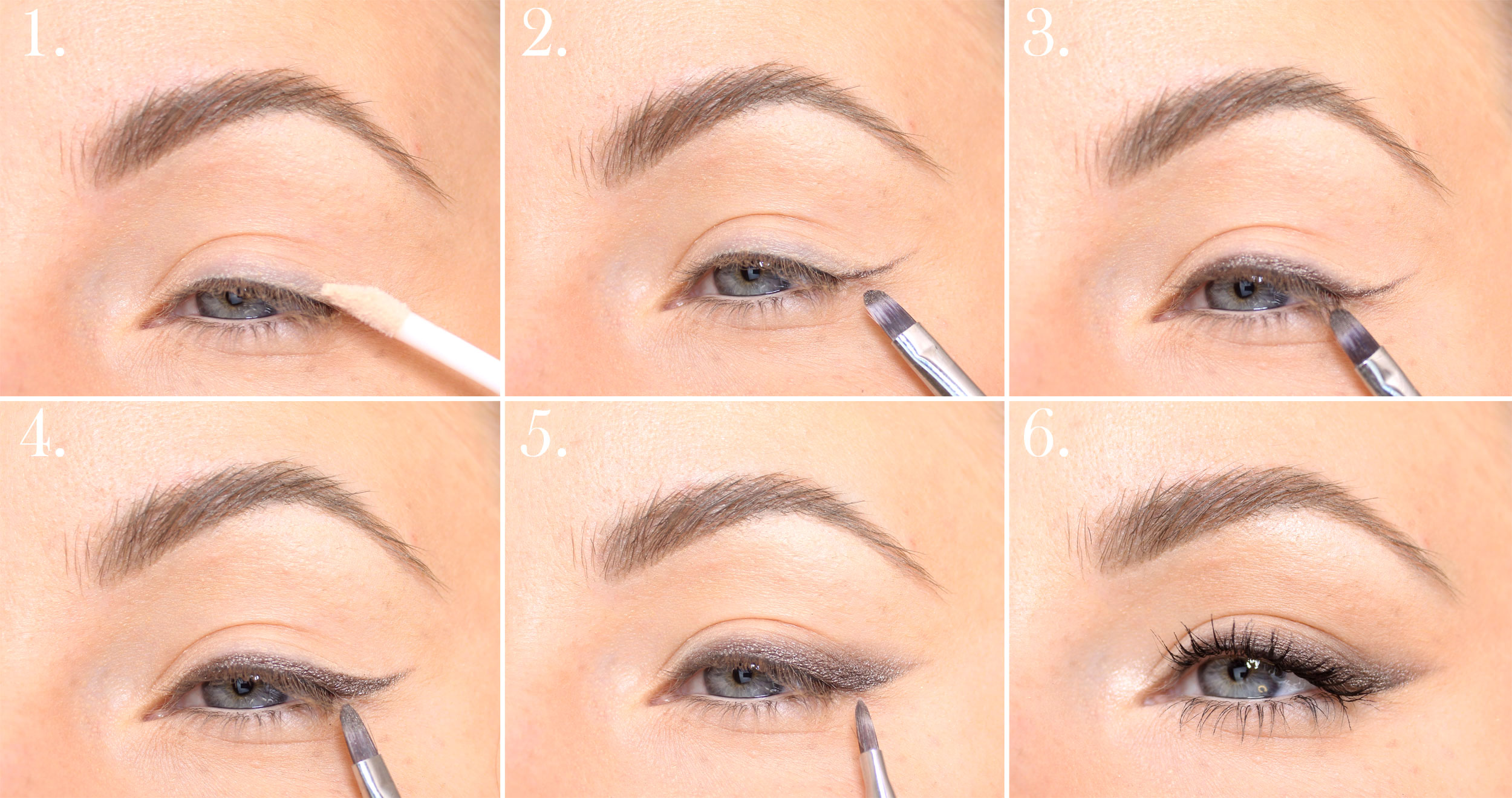 brown smoky eyeliner step by step