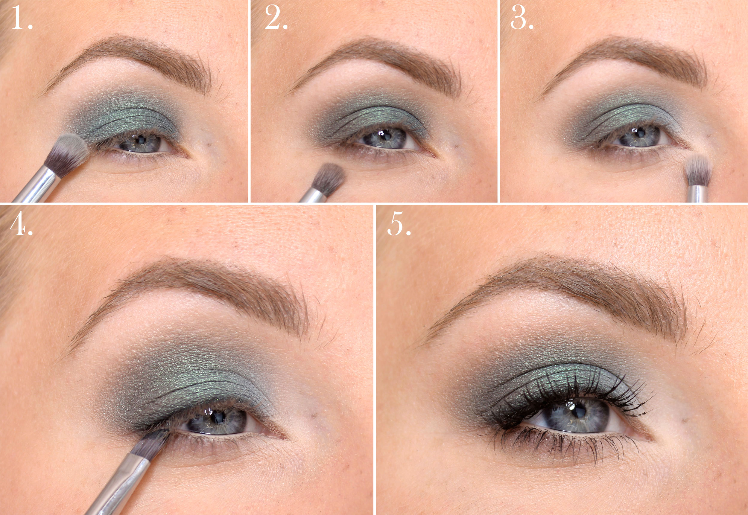 make-up with green eye shadow step by step
