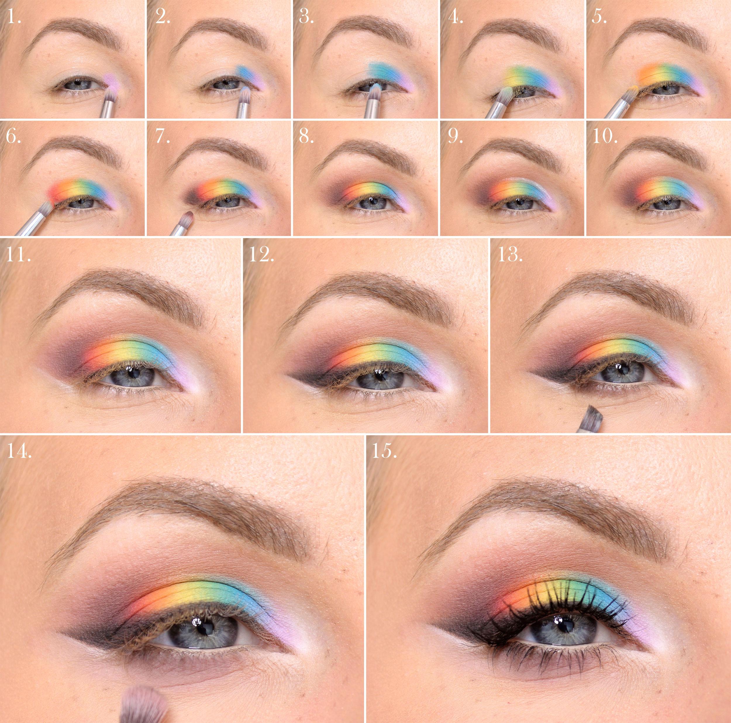 regnbågssminkning steg för steg