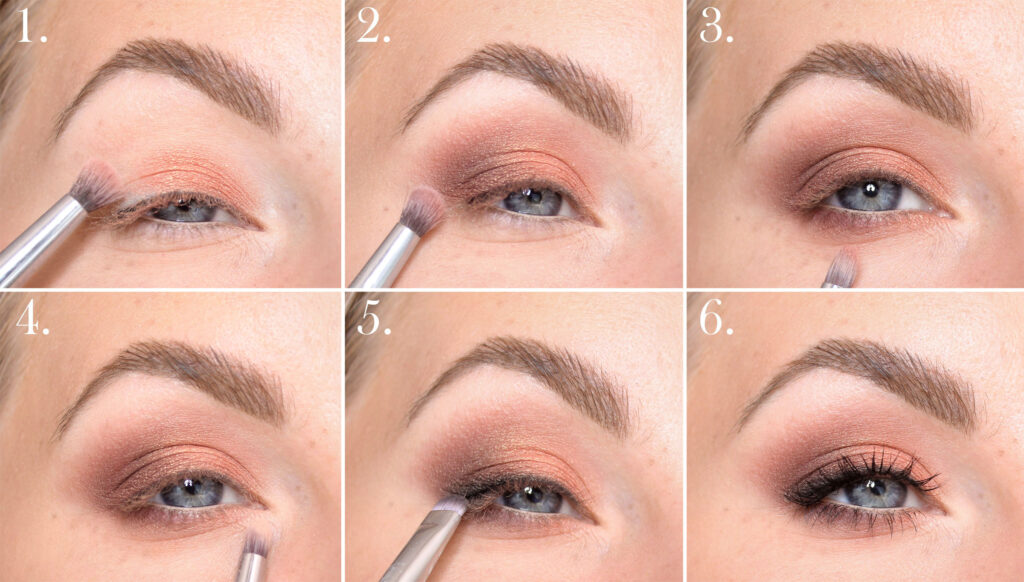 Peach golden make-up step by step