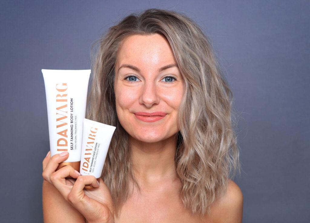 ida warg self-tanning body lotion, ida warg self-tanning face lotion, review, before after, gel, vegan