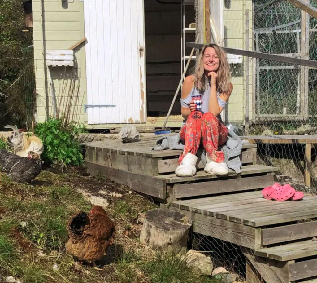 gallinas granja de pollos café al aire libre sol primavera