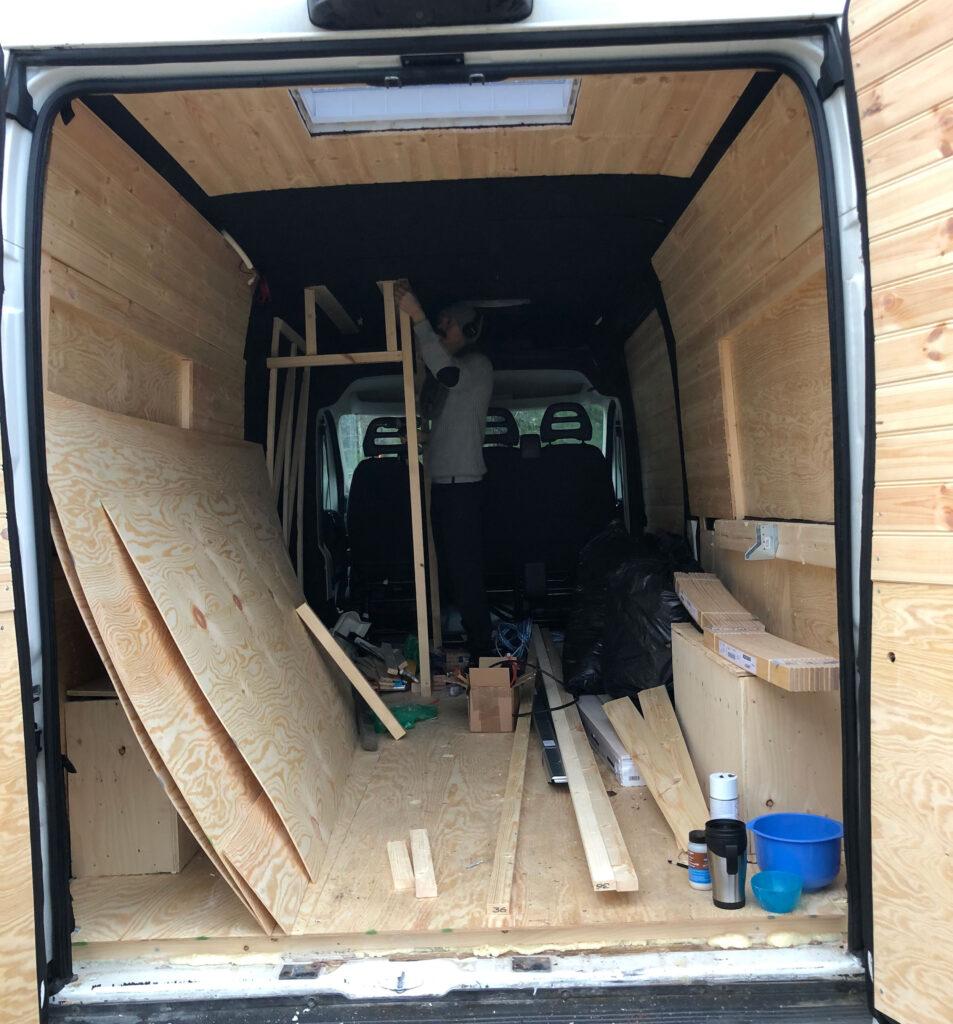 construir autocaravana panel techo techo corredizo inodoro