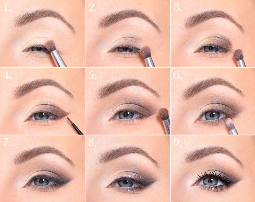 party makeup tutorial, step by step brown sooting smoky eyes smoky eyeliner eyeliner of eye shadow eye makeup eye shadow how to make tips makeup tips