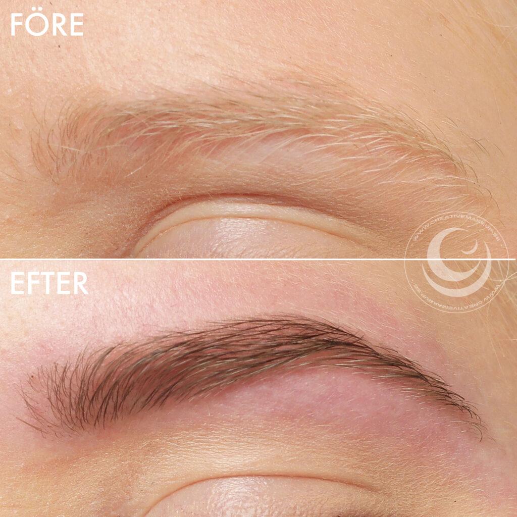 blonda ögonbryn, ljusa ögonbryn, plocka, forma, färga, refectocil light brown ljusbrun, depend ögonbrynsfärg