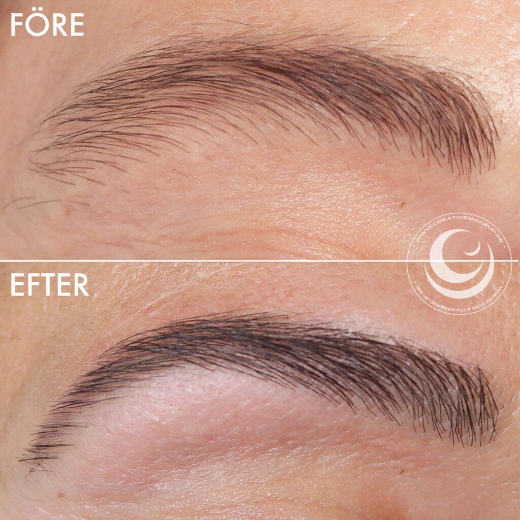 bruna ögonbryn, refectocil natural brown, naturbrun, resultat, depend ögonbrynsfärg, plocka, färga, ögonbrynsplockning